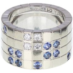 Cartier Diamond and Sapphire Lanieres Band Ring (23.010 BRL) ❤ liked on Polyvore featuring jewelry, rings, sapphire band ring, wide-band diamond rings, sapphire diamond ring, sapphire jewelry and geometric rings