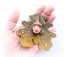 Felted Wool Brooch Acorn Autumn Leaves, Needle Felted Brooch Magic Forest Man, a Natural Decoration, Natural Jewelry, Original Unique Gift