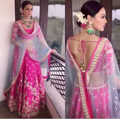 Sana Khan in a Pink embroidered lehenga Indian Wedding Outfits, Bridal Outfits, Indian Outfits, Indian Clothes, Blouse Back Neck Designs, Dress Designs, Blouse Designs, India Fashion, Ethnic Fashion