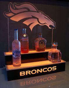 Denver Broncos LED Lighted Home Bar Display