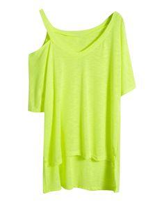 Asymmetric Solid-tone V-neck T-shirt