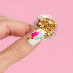 Spring nails with gold nail foil || Japanese nail art