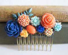 Coral Turquoise Navy Blue Hair Comb Wedding Hair Accessories Bridesmaid Gift Orange Peach Sapphire Blue Bridal Floral Headpiece Romantic