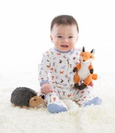 Our Woodland Origami Footie features hares, foxes, and yes, hedgehogs.  magnificentbaby.com