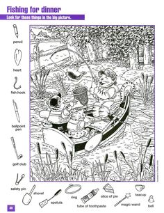 Fishing for Dinner Hidden pictures coloring page Colouring Pages, Coloring Sheets, Adult Coloring, Coloring Books, Hidden Picture Games, Hidden Picture Puzzles, Hidden Pics, Ivan Cruz, Hidden Pictures Printables