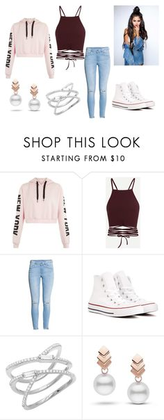 Half Up Half Down Hairstyle by holypotato on Polyvore featuring H&M, Converse and Escalier