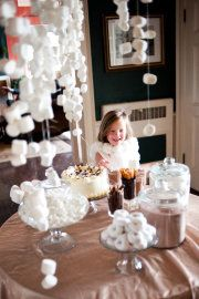 hot chocolate party - love the hanging marshmellows