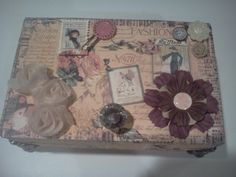 I repurposed an old cigar box to this lovely keepsake.