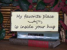 Wooden Sign Home Decor, Country Cottage, Rustic, Romantic Love Plaque, Shabby Primitive Chic Shelf Sitter, Ready to Ship. $7.95, via Etsy.