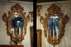 Pair of Florentine, Rococo style girondelle mirrors: In solid, carved giltwood with original etched glass, each mirror having three arms. Antique Mirrors, Ornate Mirror, Wood Mirror, Mirror Mirror, French Mirror, Italian Villa, Art Deco Home, French Interiors, Old World Style