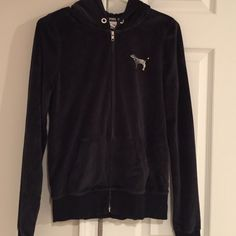 Victoria's Secret Black Velour Zipup jacket Victoria's Secret Black Velour Zip up Size Small with Sequins on back PINK LAS VEGAS!! Limited Edition bought in The forum shops in Las Vegas and only wore once!! Very soft Victoria's Secret Jackets & Coats
