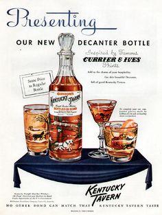 """1950s Glenmore Kentucky Tavern Currier Ives Decanter Ad for Kentucky Tavern """"Bottled in Bond"""" Bourbon"""
