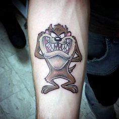 Small Masculine Tasmanian Devil Tattoos For Men Inner Forearm