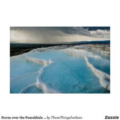Storm over the Pamukkale terraces, Turkey Poster Pamukkale, Landscape Prints, Storm Clouds, Custom Posters, Terraces, Holiday Photos, Photographic Prints, Geology, Scenery