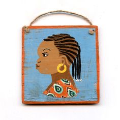 Peinture enseigne de coiffeur africain (orange et bleu) n°3