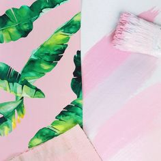 Color Inspiration, Pinks and Greens Paper Goods, Color Inspiration, Pink And Green, Plant Leaves, Stationery, Abstract, Instagram, Artwork, Plants
