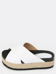 Espadrille Flatform Sandals WHITE