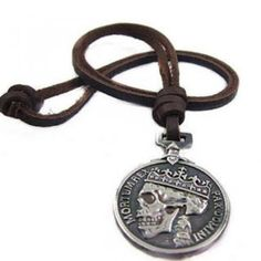 Genuine Leather Embossed-Skull Necklace