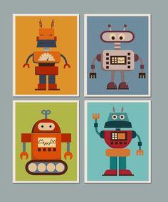 Set of 4 Prints Nursery Art for Children Kids Wall art Baby Room Nursery Robots by ArtPompadoo USD) http:& Baby Room Art, Baby Wall Art, Art Wall Kids, Nursery Wall Art, Art For Kids, Baby Art, Nursery Decor, Robot Bedroom, Robot Nursery