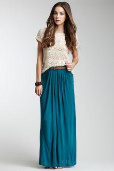 Olive & Oak Belted Maxi Skirt