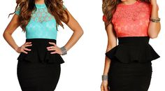 Sexy Style Lace Splicing Ruffles Packet Buttock Stand Neck Women's Peplum DressLace Dresses | RoseGal.com