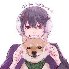 Juuzou Suzuya with a shiba —hope you enjoy @DaraenSuzu