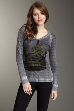 Golden Crown Hooded V-Neck Thermal