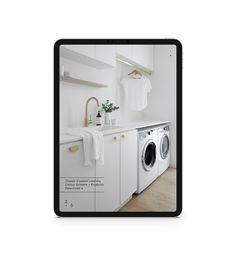 Want to re-create this white laundry with panelled cabinetry and brass tapware and accessories in your home? Full specs available now online. Includes clickable links to all products. Duplex Design, Interior Design Studio, Bathroom Interior Design, Bathroom Color Schemes, Kitchen Colour Schemes, Laundry In Bathroom, Vanity Bathroom, Bathroom Inspo, Modern Bathroom