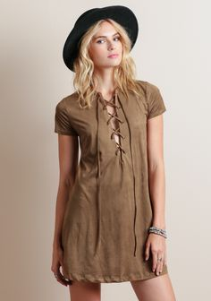 Calico Saloon Faux Suede Dress at threadsence.com