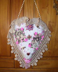 J.Rae's Shabby Cottage Designs: My Latest Creation: Shabby Cottage Hanging Heart Sachet Pillow