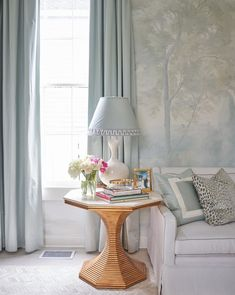 Interior design star Rivers Spencer uses Susan Harter Muralpapers to create a serene backdrop for her home redesign. This misty, ethereal painted landscape is called Barringtons Mist. Nyc Brownstone, Living Room Designs, Living Spaces, Scenic Wallpaper, Living Room Murals, Kawaii Bedroom, Wall Treatments, Building A House, New Homes