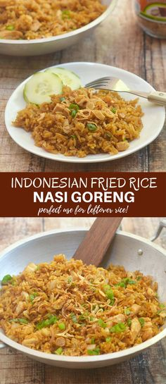 Nasi Goreng is an Indonesian Fried Rice loaded with moist chicken and sweet, spicy, and savory flavors you'll love. Ready in minutes and cooks in one pan, it's the perfect use for leftover rice and makes an amazing weeknight meal. via @lalainespins