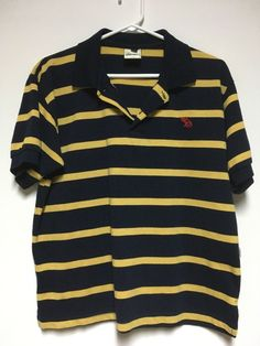 Abercrombie and Fitch Men's Polo Golf Shirt Size Large Blue Yellow Stripes  #AbercrombieFitch #PoloRugby