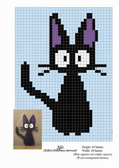 Hama Beads Pattern post by wememade Hama Beads Design, Knitting Charts, Perler Beads, Fuse Beads, Simple Pixel Art, Kiki Delivery, C2c, Bead Crafts, Cat Cross Stitches
