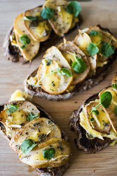 Caramelized Pear, Brie and Honey Tartines from butter and brioche