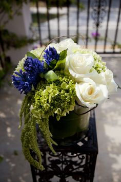 """A rose by any other name would smell as sweet...  especially when it's in the company of sweet hyacinths and trailing, elegant amaranthus. I call it """"Julietta"""""""
