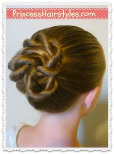 "PrincessHairstyles.Com:  Quick and easy ""Twisted Knot Bun"" ~ Video Tutorial"