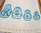 SALE. Matryoshka Tea Towel.