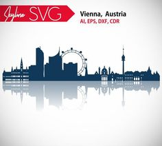 City Vector, Skyline Silhouette, Vienna Austria, Running Away, Places To Travel, Logo Design, Clip Art, Movie Posters, Etsy