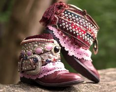 Burgundy upcycled reworked boots From TheLookFactory on Etsy