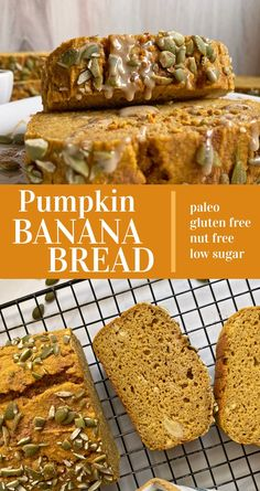 This healthy paleo pumpkin banana bread recipe is made with cassava flour and only sweetened with bananas. It's moist, dense and great for a healthy breakfast or snack. #pumpkinbananabread #paleobread #fallrecipes Healthy Gluten Free Bread Recipe, Paleo Pumpkin Recipes, Gluten Free Banana, Gluten Free Pumpkin, Fall Recipes, Pumpkin Banana Bread, Flours Banana Bread, Pumpkin Chocolate Chips, Baked Pumpkin