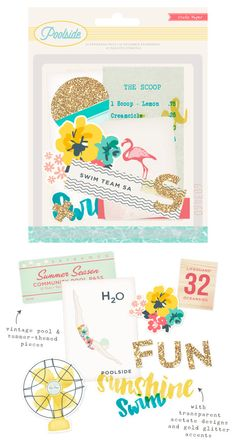 """Crate Paper's NEW  """"Poolside"""" Ephemera pack with transparent acetate designs and gold glitter accents."""