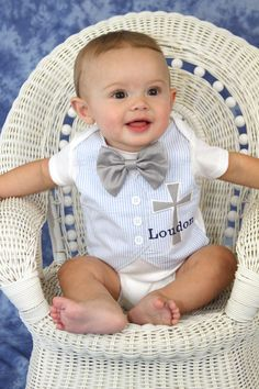 Personalized Light Blue Seersucker Baptism, Christening, and Dedication Bodysuit with Matching Removable Bow Tie