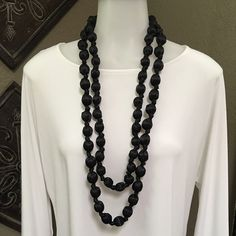 Chicos necklace Long satin covered & knotted bead necklace Chico's Jewelry Necklaces