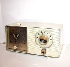 Vintage GE Tube Clock Radio AM Mid Century 60s $40.  My grandmother gave me her old one and I was soooo thrilled to have my OWN radio so I could listen to the best AM had to offer. :)