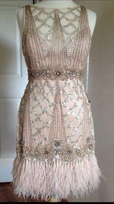SUE WONG 1920's Gatsby Champagne Beaded Sequin Embellished Feather Dress 14 #SUEWONG #GATSBYARTDECO #Cocktail