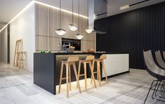 холодный + теплый оттенки  - пол и стена A simple kitchen area with wooden bar stools is very open and modern.