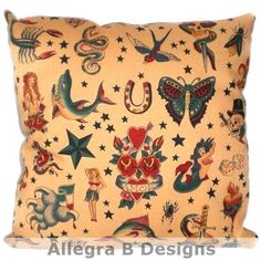Tattoo Rockabilly Sailor Jerry Pillow Cushion by AllegraB on Etsy, $15.00