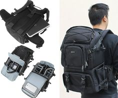 Evecase Canvas DSLR Travel Camera Backpack | CoolShitiBuy.com