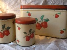 Vintage Kitchen 1940s Bread Box and Canister 3 Piece Apple Set.